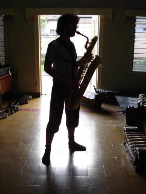On tour with a bari sax, Indonesia 2007